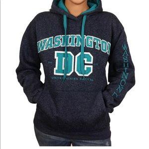 DC Washington DC gray and teal hooded sweatshirt